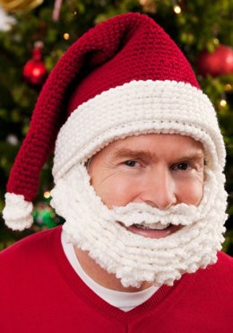 Santa Hat and Beard in Red Heart Super Saver Economy Solids - LW2655