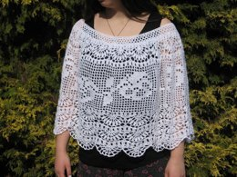 "Crochet Poncho ""Pansy Afternoons"""