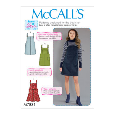 McCall's Misses' Jumpers Dungaree Dress M7831 - Sewing Pattern