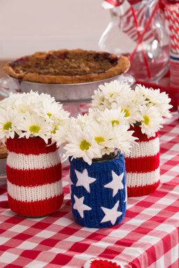 Americana Jar Cozies in Red Heart Super Saver Economy Solids - LW4763