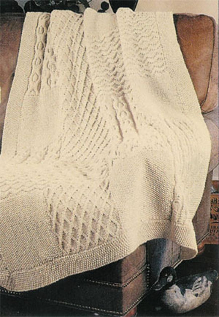 Knitting Pattern Sampler Afghan : Aran Knit Sampler Afghan in Lion Brand Fishermens Wool - 864 Knitting ...