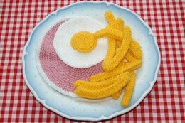 Knitting & Crochet Pattern for Ham, Fried Egg and Chips / Fries - Crocheted Play Food