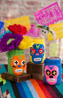 Day of the Dead Cozies in Red Heart  Super Saver Economy Solids - LW4920 - Downloadable PDF
