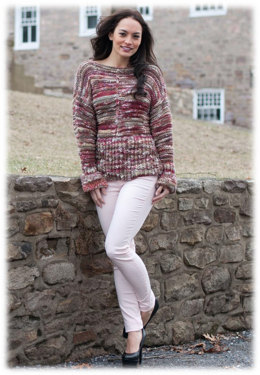 Peplum Drop Shoulder Pullover in Plymouth Yarn Sophia Tweed - 2773 - Downloadable PDF