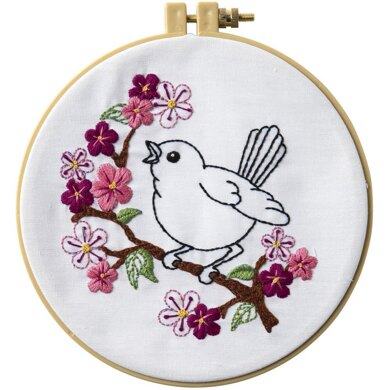 Bucilla Stamped Embroidery Kit - Cherry Blossom Birdie - 8.25in
