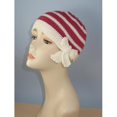 Tie Up Bow Stripe Beanie Circular Knitting Pattern