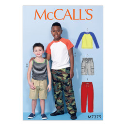 McCall's Children's/Boys' Raglan Sleeve and Tank Tops, Cargo Shorts and Pants M7379 - Sewing Pattern