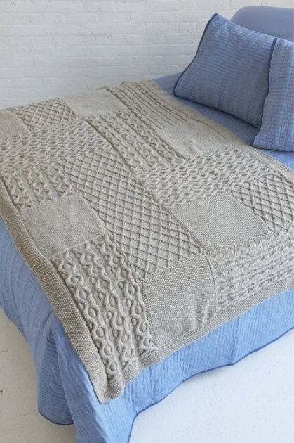Free Knitting Pattern 80115ad Winter Lace Afghan Lion : Aran Knit Sampler Afghan in Lion Brand Fishermens Wool ...