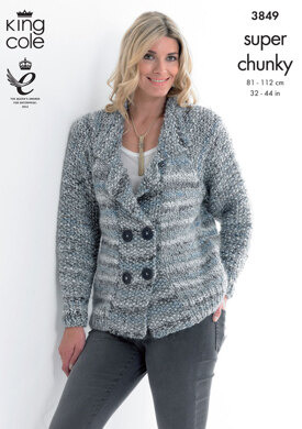 Jacket and Cardigan in King Cole Super Chunky - 3849