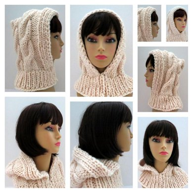 Snow Queen Cable Hooded Hat