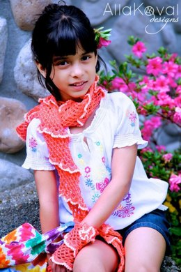 Coral Reef Scarf, Gloves and Pin 3pc Set Crochet
