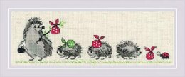 Riolis Hedgehogs Cross Stitch Kit - 24cm x 8cm