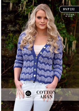 Two Colour Lace Cardigan in DY Choice Cotton Aran - DYP232 - Downloadable PDF
