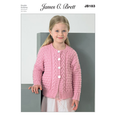 Girl's Cardigans in James C. Brett DK with Merino - JB183
