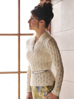Fitted Lace Pullover in Blue Sky Fibers Sport Weight and Brushed Suri