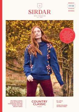 Floral Jumper in Sirdar Country Classic Worsted - 10160 - Downloadable PDF