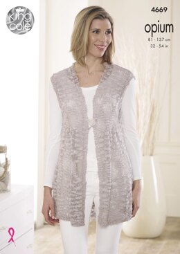 Smock Tunic & Matching Gilet in King Cole Opium Palette & Opium - 4669 - Downloadable PDF