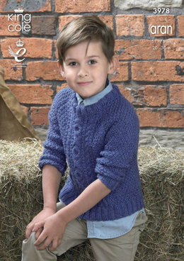 Sweater and Cardigan in King Cole Big Value Aran - 3978