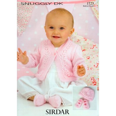 Cardigan, Hat & Shoes in Sirdar Snuggly DK - 1723
