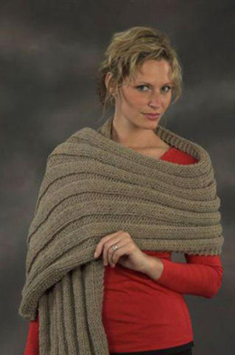 Wide Ribbed Prayer Shawl in Plymouth Encore Worsted - F467