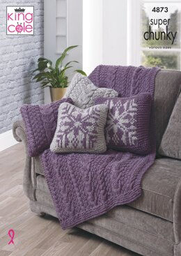 Throw & Reversible Cushion Covers in King Cole Super Chunky - 4873 - Downloadable PDF