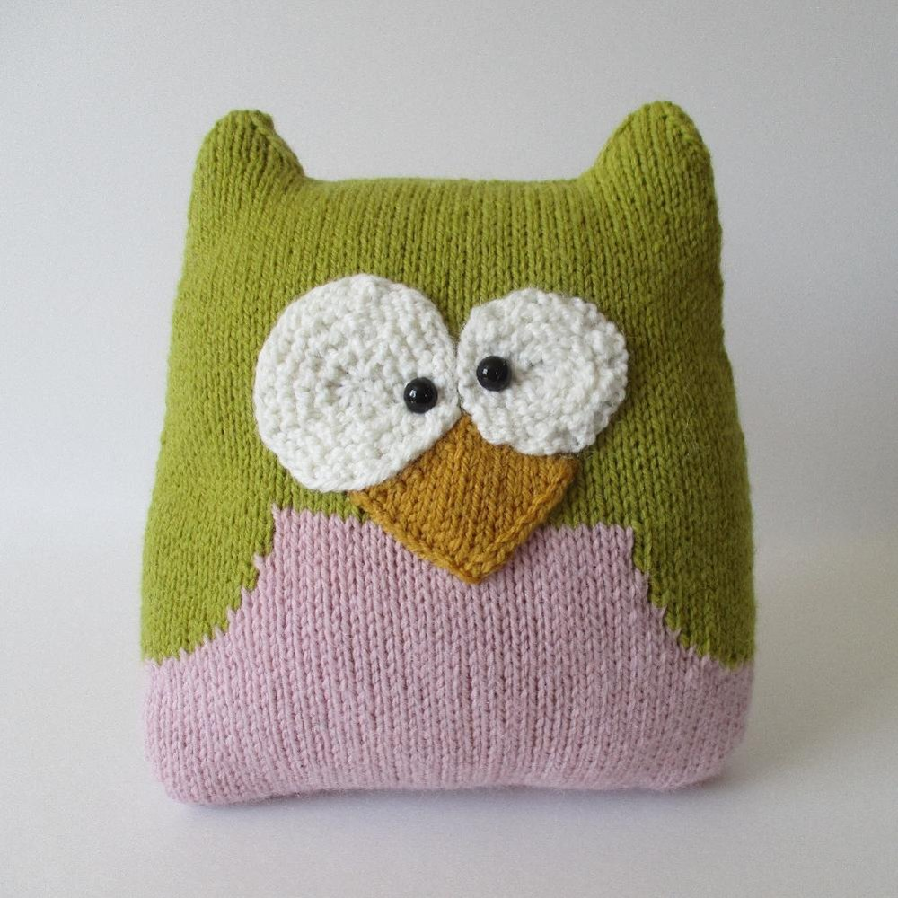 Owl Cushion Knitting Pattern : Owl Cushion Knitting pattern by Amanda Berry Knitting Patterns LoveKnitting