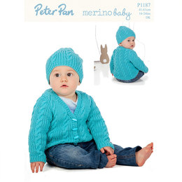 Cable and Rib Cardigan and Hat in Peter Pan Merino Baby DK - 1187