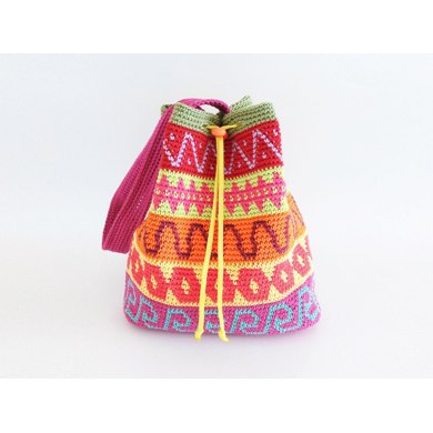 Color block drawstring bag