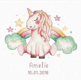 Luca-S Unicorn & Rainbow Baby Sampler Cross Stitch Kit