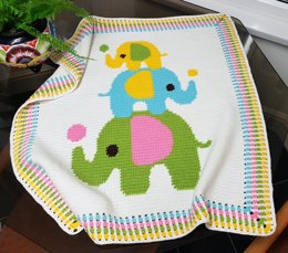 CROCHET Baby Blanket - Three Elephants