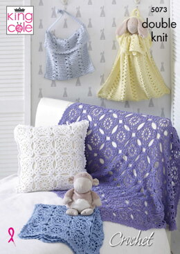 Blankets, Cushion, Toy Bag and Nappy Bag in King Cole Cottonsoft DK - 5073 - Downloadable PDF