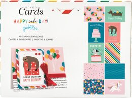 """American Crafts Pebbles A2 Cards W/Envelopes (4.375""""X5.75"""") 40/Box - Happy Cake Day"""