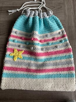 Child's Crochet Drawstring Bag