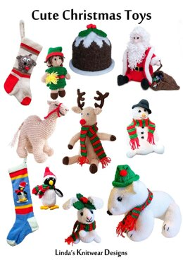 Cute Christmas Toys and Stockings to knit - camel, reindeer, snowman, penguin, polar bear