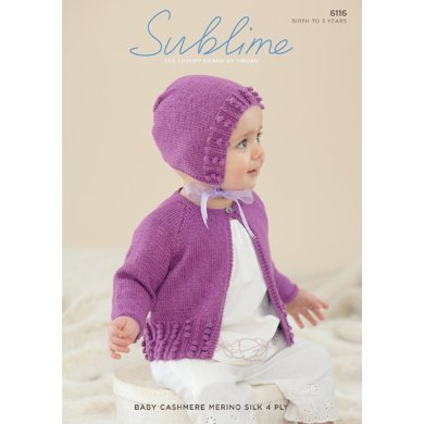Cardigan and Bonnet in Sublime Baby Cashmere Merino Silk 4 Ply - 6116