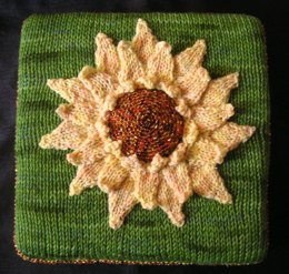Sunflower Pillow with Beaded Center