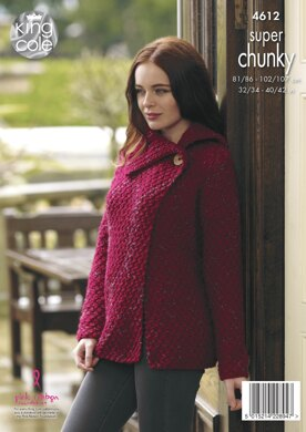 Coatigan, Cardigan & Gilet in King Cole Big Value Super Chunky Twist - 4612 - Downloadable PDF