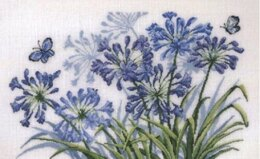 Permin Blue Butterflies and Flowers Cross Stitch Kit