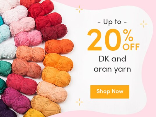 Up to 20 percent off DK and aran yarn