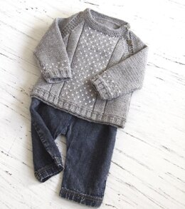 Baby round neck, side opening sweater - P061