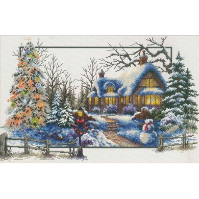 Needleart World Winter Cottage No-Count Cross Stitch Kit - 51cm x 32cm