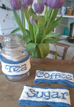 Kitchen set - washcloths and tea coffee and sugar labels