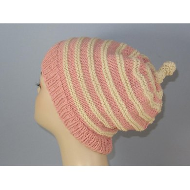 Stripe Topknot Slouch Hat