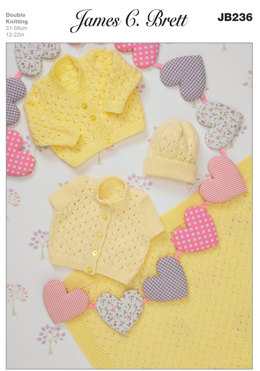 Bonnet and Sweaters in James C. Brett Baby DK and Baby Twinkle DK - JB236
