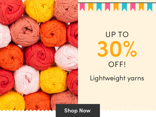 Up to 30 percent off lightweight yarns