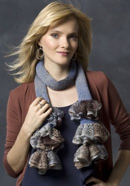 Ruffle Me Scarf in Red Heart Boutique Midnight - LW2724