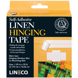"Lineco Self-Adhesive Linen Hinging Tape - White 1.25""X35'"