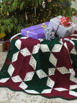 Christmas Star Throw in Red Heart Super Saver Economy Solids - LW1894