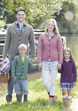 Family Cabled Cardigans in Hayfield Bonus Aran Tweed with Wool - 9696