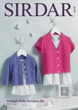 b2a422718d47 Baby Girl s Cardigans in Sirdar Snuggly Bamboo DK - 5216 - Downloadable PDF